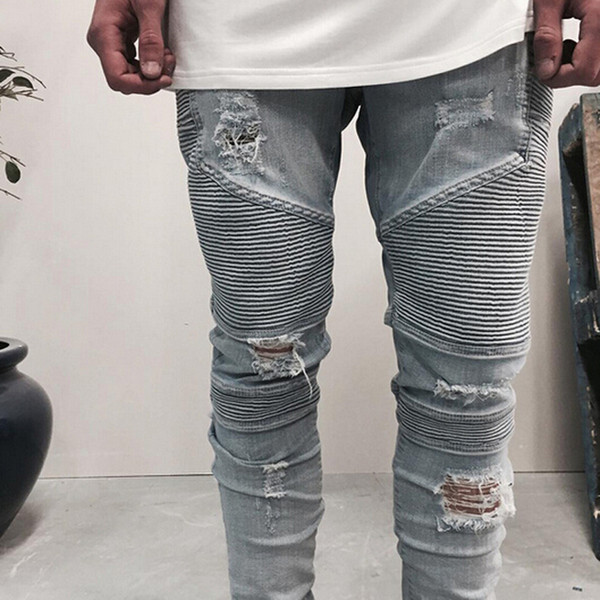 top popular Wholesale slp blue black destroyed mens slim denim straight biker skinny jeans Casual Long men ripped jeans Size 28-38 free shipping 2020
