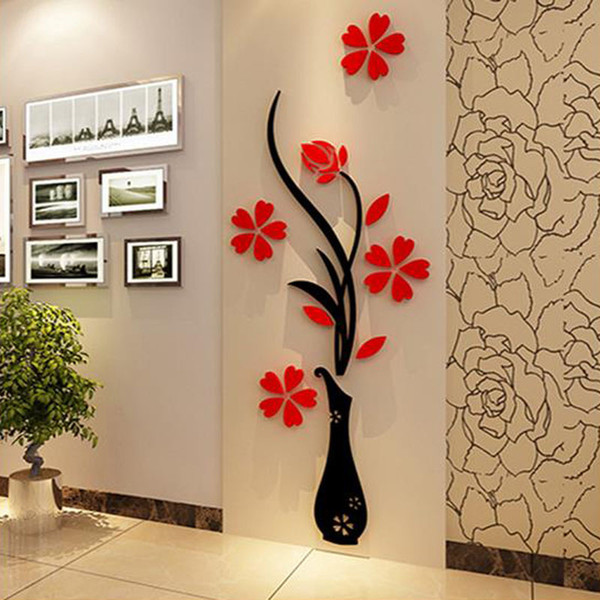 Gros Stickers Muraux Acrylique 3D Prune Fleur Vase Stickers Vinyle Art DIY Décor À La Maison Sticker Rouge Floral Wall Sticker Couleurs