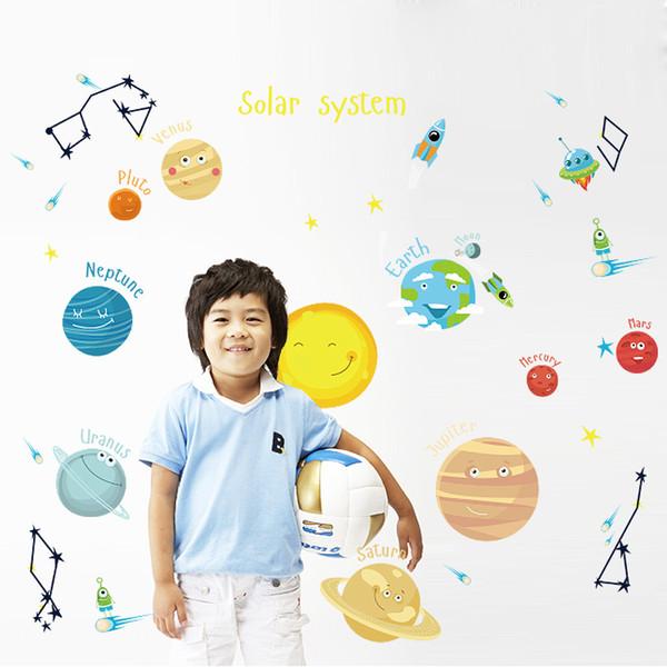 Autocollant de décalque mural de voyage dans l'espace à la maison / en magasin, décoratif, bricolage, peinture murale amovible en vinyle pour la chambre d'enfants / jardin d'enfants / salle de séjour QTB621