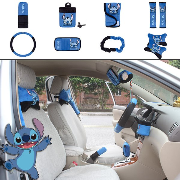 Admirable Unit Auto Accessories Stitch Blue Black Car Upholstery Steering Wheel Cover Pillow Car Covers Set Universal Automotive Interior Vehicle Seat Pdpeps Interior Chair Design Pdpepsorg