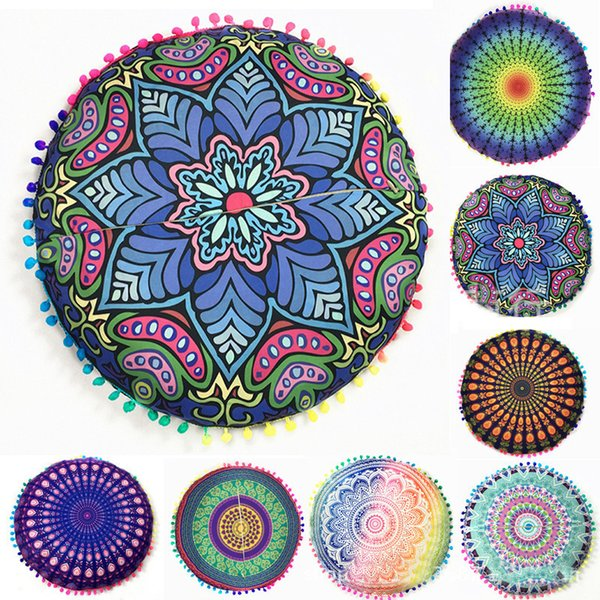 43*43cm Round Cushion Pillow Covers Mandala Meditation Floor Pillows Cover Indian Tapestry Bohemian Pouf Throw Round Cushion Cover WX-P14