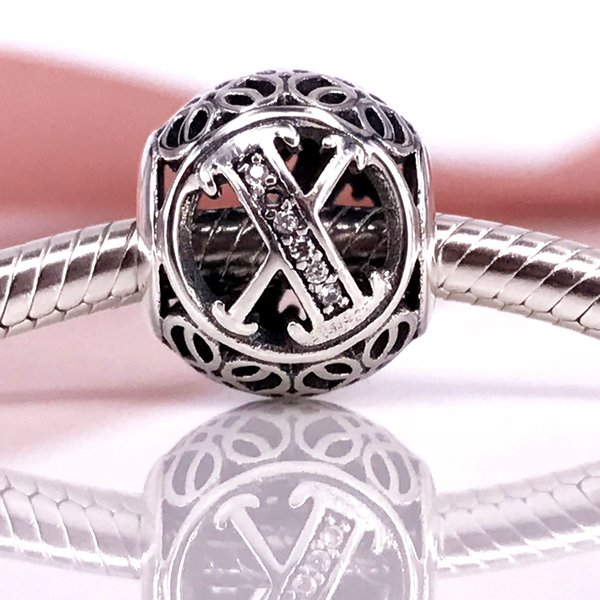 76ec04b9e Authentic 925 Sterling Silver Vintage X, Clear CZ charm Fit DIY Pandora  Bracelet And Necklace