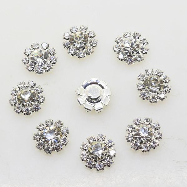 best selling 100pcs 12mm Flower Metal Wedding Rhinestone Embellishments Button Flatback Buckle Diy Accessories Wedding Decoration