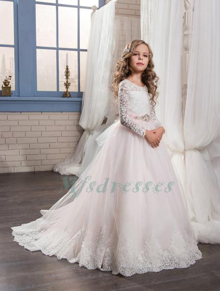 Hot Mangas Compridas Lace Branco Rosa Vestidos Da Menina de Flor Rosa Sash Meninas Vestidos Pageant crianças Prom Vestidos