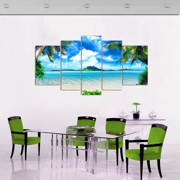 5Panel Modern Beach Coconut Trees landscape Oil Painting on Canvas for Living Room Wall Art Gift Decoration Home No Frame