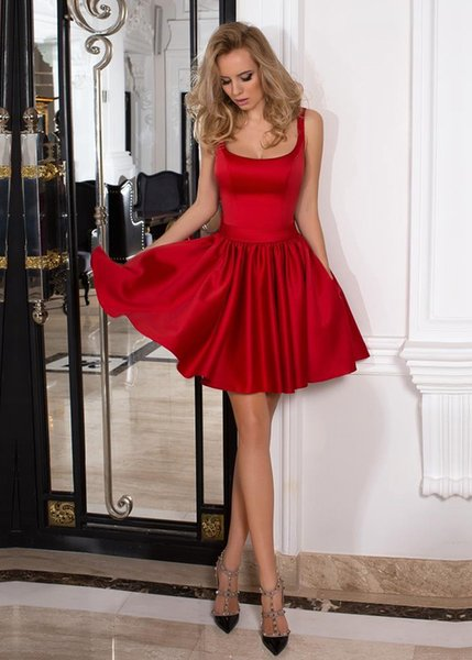 Popular 2017 A-Line Red Satin Short Prom Dresses With Square Neck Zipper Back Cheap Mini Cocktail Dresses With Bow Formal Gowns Plus Size