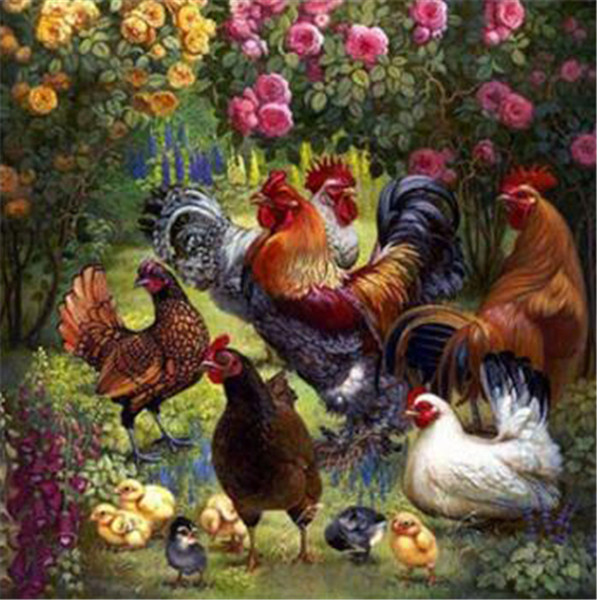 best selling 5D needlework Diy diamond painting cross stitch kits full resin square diamond embroidery Mosaic Home Decor animal Cock zf0203