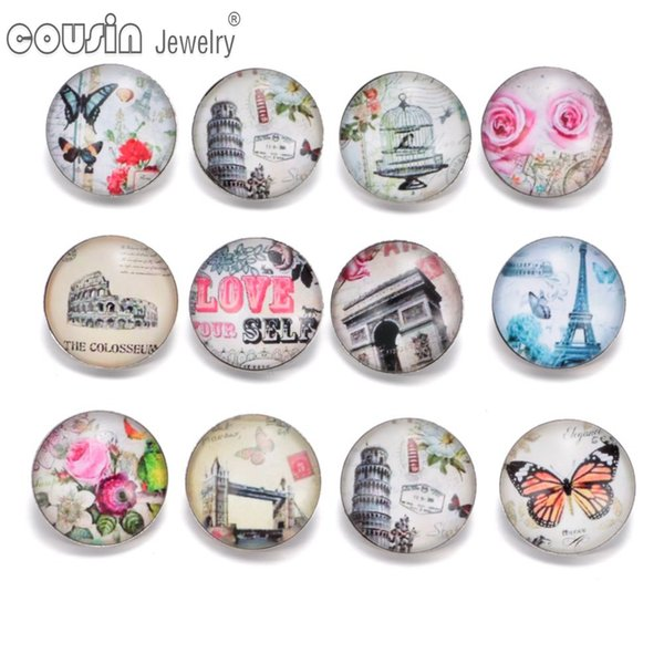 KZ0338 12pcs/lot 18mm Snap Button Jewelry Faceted Glass Snap Fit DIY Butterfly Bracelet Interchangeable Ginger Snaps Jewelry