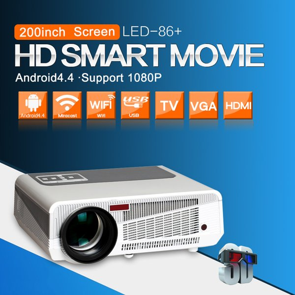 Wholesale- Android 4.4.2 Full HD LED Daytime LCD 3D Wifi Smart Projector 5500lumens proyector Beamer LED-86 Lamp business cinema White