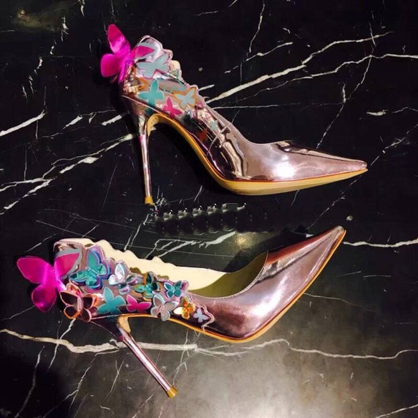 3D Butterfly Stiletto Pointed Toe Sexy Pumps Shoes Evening Party Dress Lady High Heels Fashion Woman Heels Pumps Shoes
