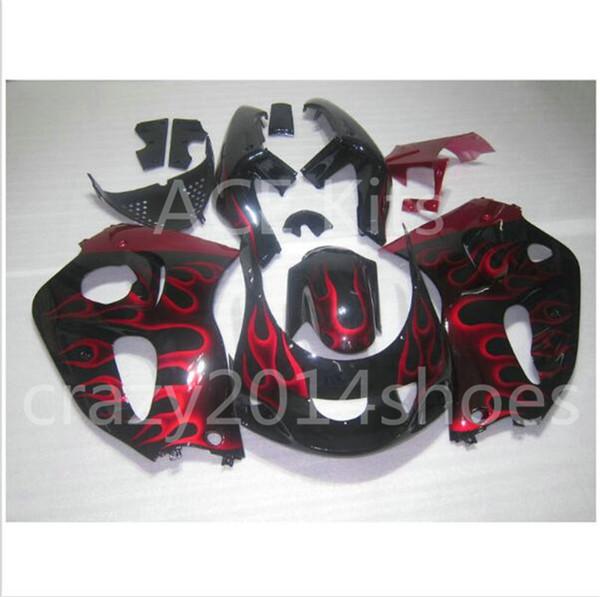 Free Gifts New motor Fairing Kit Fit For SUZUKI SRAD GSXR750 GSXR600 96-00 1996 1997 1998 1999 2000 R600 R750 bodywork black red flame No.3