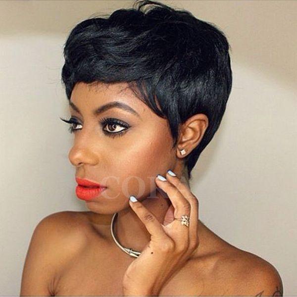 Perucas curtas para as mulheres afro-americanas Rihanna Curto pixie Perucas de Cabelo Humano Brasileira Curto Rendas Frente Perucas de Cabelo Humano Para As Mulheres Negras