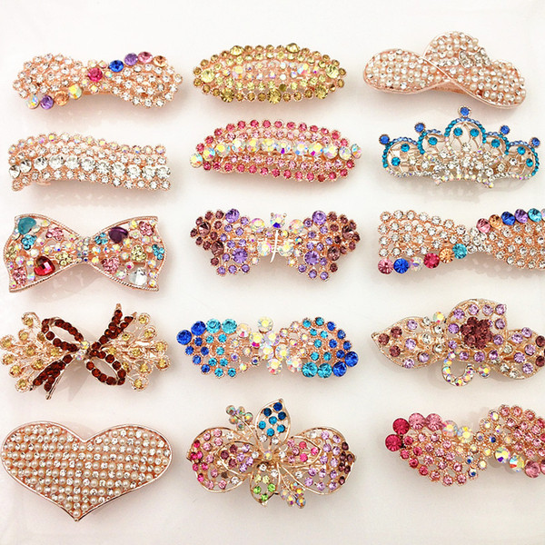 best selling Hot Fashion Spring Clip Crystal Hair Pins Bling Bling rhinestone hair accessories Pearl Heart Bow Flower Leaf Wholesale Hair Jewelry by DHL