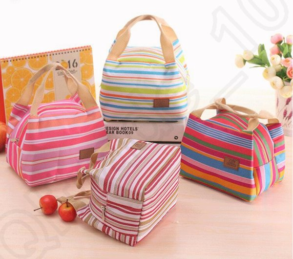Canvas Stripe Picnic Lunch Drink Thermal Insulated Cooler Tote Bag 450ML Portable Carry Case Lunch Box 6 Colors OOA1161