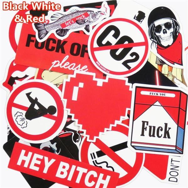 51 Pcs noir et blanc et rouge autocollants pour ordinateur portable réfrigérateur téléphone Waterpoof bouchon de carburant Creative autocollant décor à la maison jouet style stylo