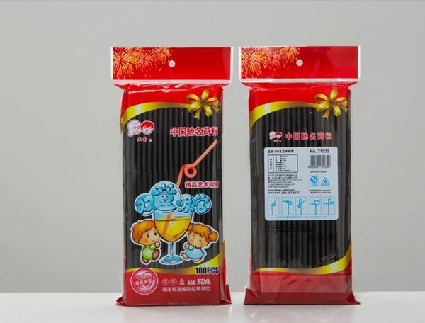 2000 Pieces Black Plastic Drinking Straws Flexible 6*260mm PP Drink Straw Party Event Bar Pub Hotel Supplies Fast Free Shipping