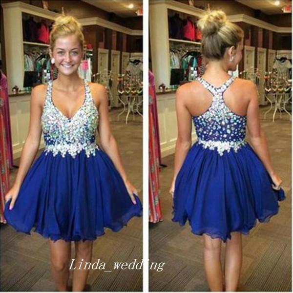 Short A Line Halter Homecoming Dress Sparkling Royal Blue con cuentas Crysta vestido de fiesta de las mujeres usan tallas grandes vestidos de festa