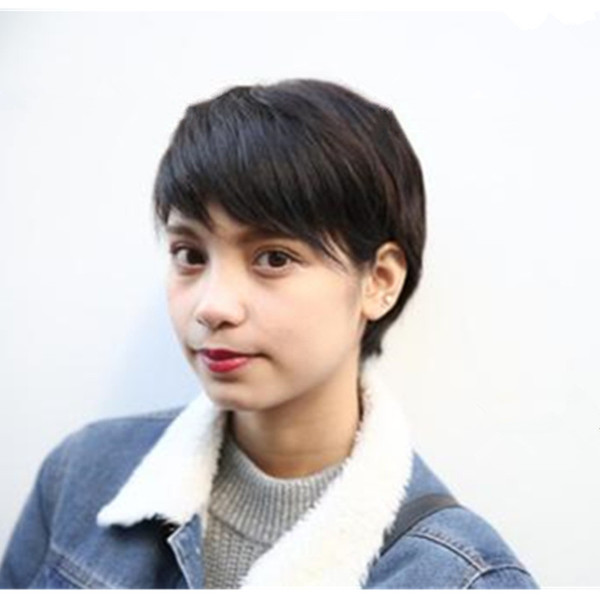 Human Hair Wigs Cheap Pixie Cut Short With Baby Hair African Hair Cut Style  Brazilian Indian Peruvian Ladies Wig For Black Women Canada 2019 From