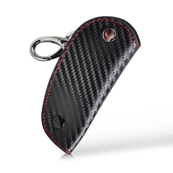 Cuir 3D En Fiber De Carbone À Distance Key Case chaîne keyless Fob couvercle titulaire pour Audi BMW Volkswagen Honda Mazda Lexus Kia
