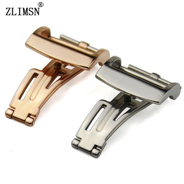 Orologio con fibbia in metallo BAND Cinturino con fibbia 20MM roseGold argento lucido Farfalla con applicazioni di distribuzione Cinturino con cinturino con fibbia k-AP356