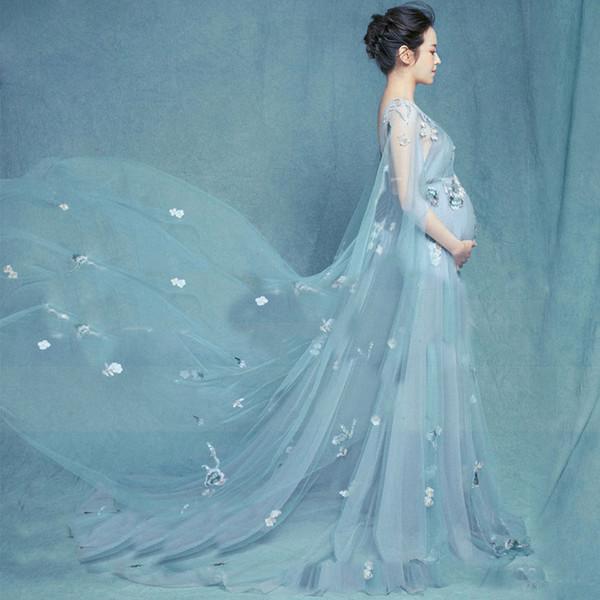 bajo precio 2a47b 95942 Compre Fotografía De Maternidad Apoyos Mujeres Embarazadas Vestidos  Embarazo Sesión Fotográfica Sin Mangas Flor Largo Dres A $31.15 Del  Anglestore | ...
