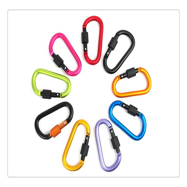 Carabiner Ring Keyrings Key Chain Outdoor Sports Camp Snap Clip Hook Keychains Hiking Aluminum Metal Stainless Steel Hiking Camping Gear DHL