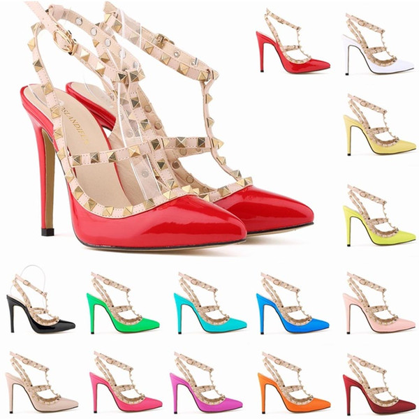 40224185 Señoras Sexy punta estrecha Tacones altos Mujeres Bombas Zapatos de charol Remaches  sandalias de tacón de