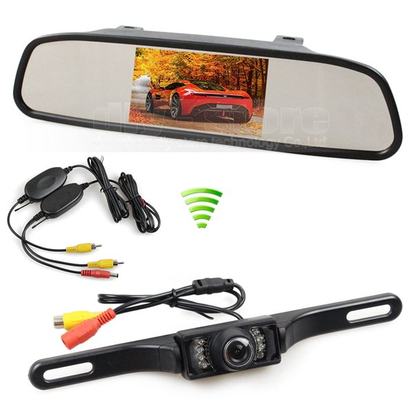 Wireless 4.3inch LCD Display Rear View Monitor Car Mirror Monitor IR Backup Car Camera Parking Assistance System Kit
