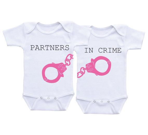 b1b0b1d9e Baby Cotton romper Partners in Crime twins baby white clothes Twin Matching  Outfits Boy/Girl