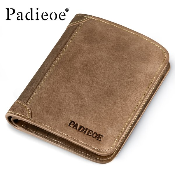 Wholesale- Padieoe Brand Top Cow Genuine Leather Wallets for Men Casual Male Wallets Vintage Organizer Purse Billfold Business Card Holders