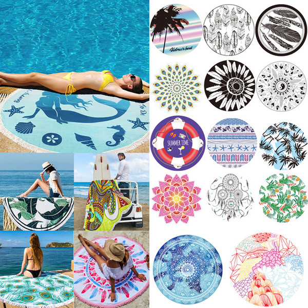 Round Printed Beach Towel With Tassels Yoga Mat Bikini Covers Blankets Portable Printing Quick Drying Sediment Free Hot Sell 30rc J R
