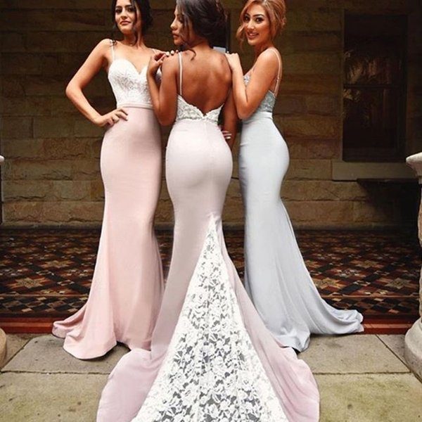 Modern Sexy Mermaid Formal Party Dress For Weddings Spaghetti Strap Appliques Backless Prom Dress 2017 On Sale Sweep Train Bridesmaid Dress