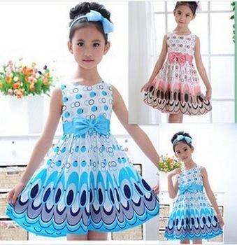 DHL free shipping New 2017 Girl dress Princess Bow Belt dress Circle Bubble Peacock print kids clothes girl's Party dresses 2-9Y