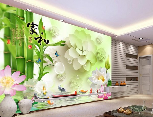 custom wallpaper for walls 3 d bamboo lotus carp photo wall mural
