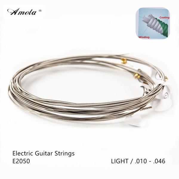 Wholesale 10 Sets AMOLA Electric Guitar Strings E2050 010-046 Guitar Strings POLYWEB Original Coating LIGHT Guitar Accessories