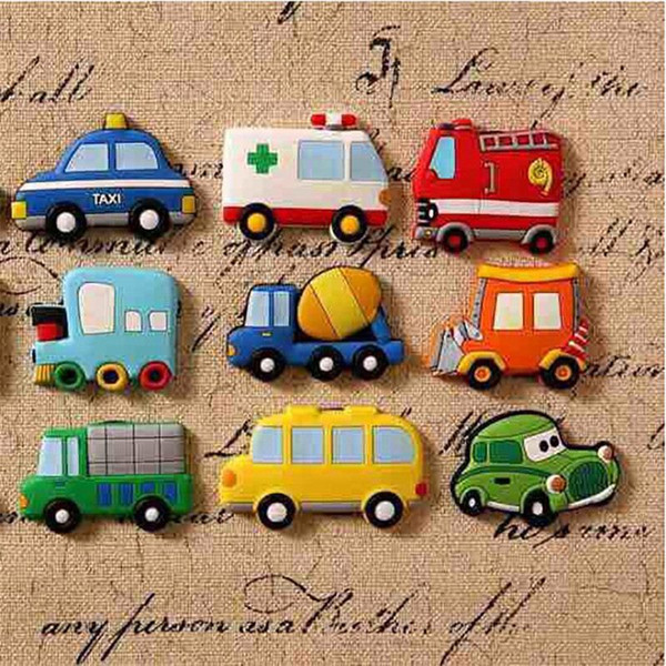 5Pcs Creative Cartoon Car Fridge Magnets For Kids Small Size Silicon Gel Magnetic Fridge Magnet Animal Magnets