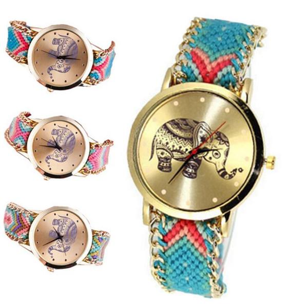 uxury Reloj elefante trenzado hecho a mano Vestido de las mujeres Reloj Dreamcatcher Amistad Pulsera Reloj de pulsera Reloj de cuarzo de lona de las mujeres