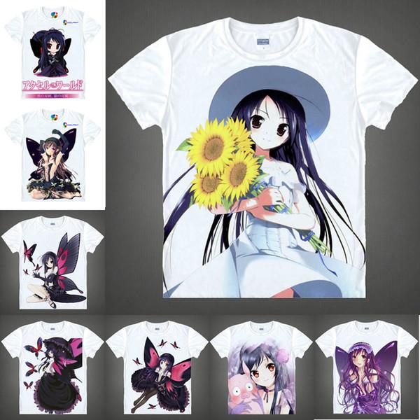 Japanese Anime Shirt Accel World T-Shirts Multi-style Short Sleeve Kuroyukihime, Kuroyuki Hime, Sacchan Cosplay Costume Kawaii Gift