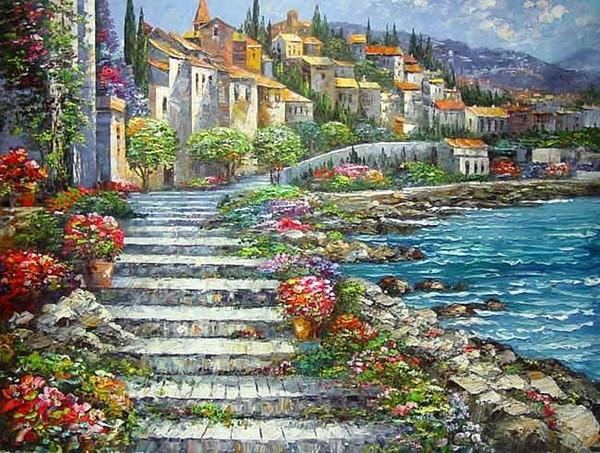 В рамке ,импрессионизм Средиземное море пейзаж дом цветы, ручная роспись маслом Главная Декор стен художественные картины мульти размеры R227