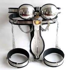 1 sets Male Fully Adjustable Model-T Stainless Steel Premium Chastity Belt + Thigh Bands + Bra Kit BLACK color