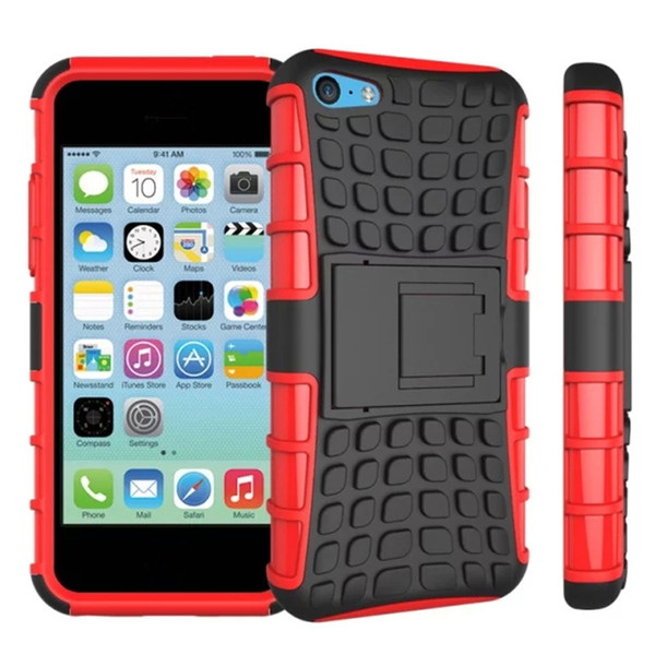 For Apple iPhone 5C Phone Case 2in1 Dual Layer Kickstand Heavy Duty Armor Shockproof Hybrid Silicone Cover Case For iPhone 5C