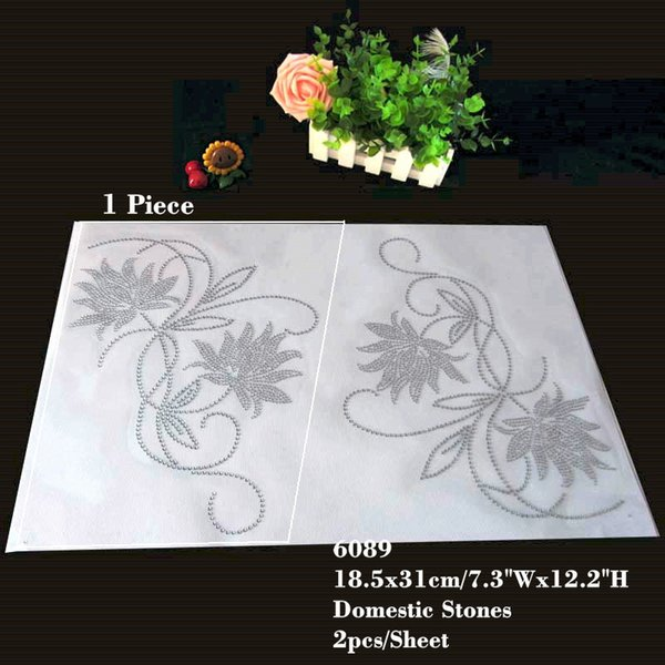 Big Flower Hotfix Rhinestone Transfers Iron On Motif Design For Sweater&T-shirt 20pcs/lot