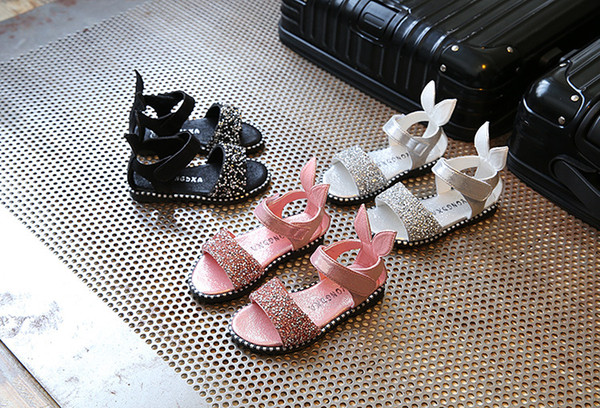 Baby Girls sandals Summer toddler kids flat heels sandals girls rome sandals Girls Princess sequined shoes child PU leather shoes