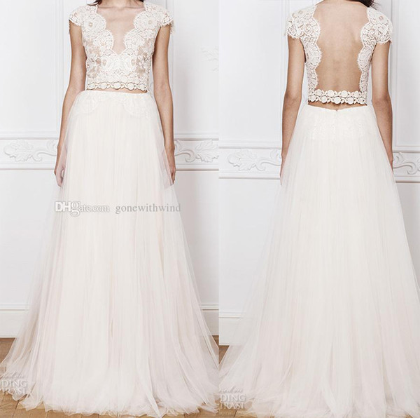 2 Piece Bohemian Wedding Dresses 2016 Scalloped V Neckline Lace Bodice Crop Top Cap Sleeves Open