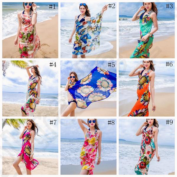 top popular Women Floral Bikini Cover Ups Print Sexy Pareo Beach Dress Bohemian Sarong Chiffon Beach Bikini Wrap Swimwear Scarf Shawl Brace OOA1281 2019