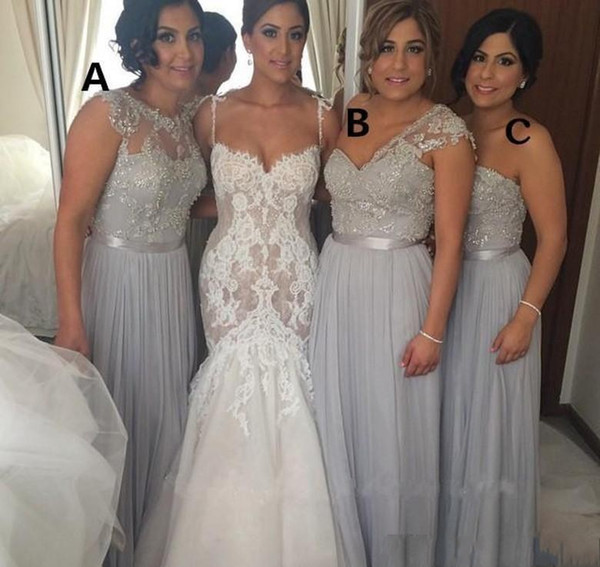 Hot Selling 2017 Long Bridesmaid Dresses Three Styles Chiffon Sleeveless Lace Appliqued with bead Party Prom Gowns Maid of Honor Dress DTJ
