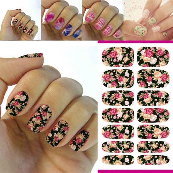 New Hot Water Transfer Nails Art Sticker Pink Red Rose Flowers ...