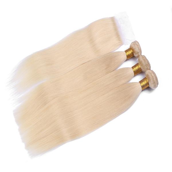 Wholesale Malaysian Weaves Closure 3Bundles Deals Cheveux Raides Avec Fermeture 9A Meilleure Qualité Fermeture de Dentelle de Cheveux Humains 613 Couleur