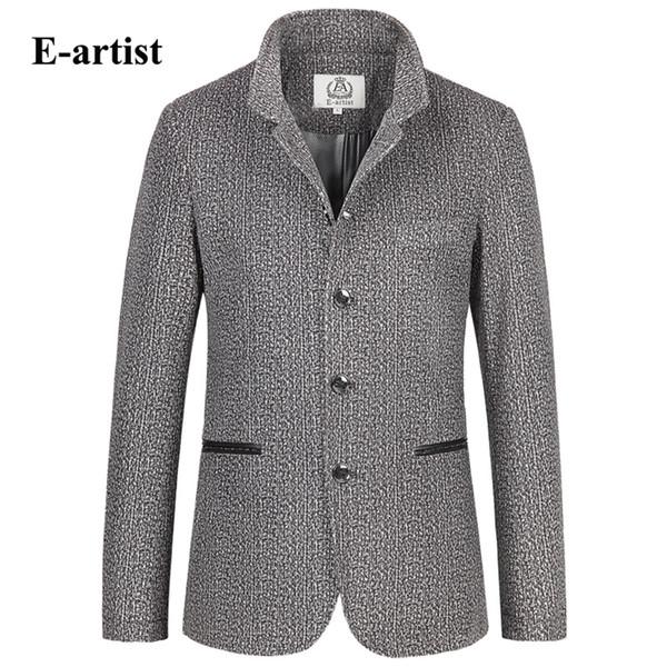 Toptan-E-sanatçı Slim Fit Nedensel Kadife Blazer Ceketler Mens Eğilim Çiçek Baskı Mandarin Yaka Suit Coats Artı Boyutu 5XL X38
