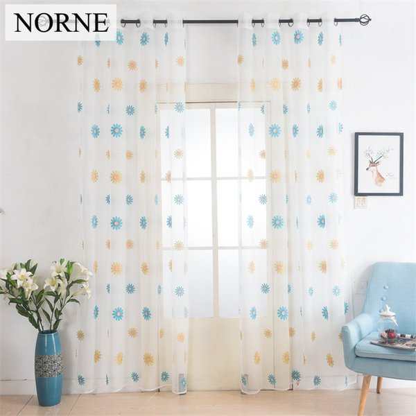 Norne European White Embroidered Voile Curtains Bedroom Sheer Curtains curtain for Living Room Tulle Window Curtains/Window Panels
